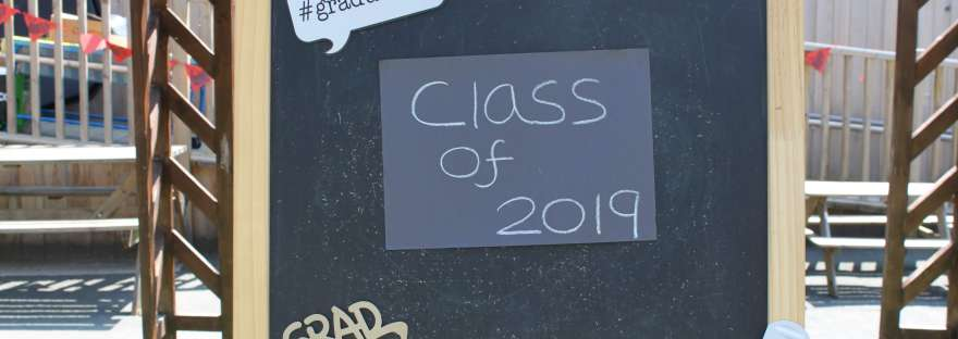 Class of 2019 preschool graduation blackboard