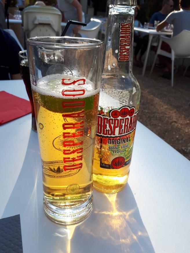 Bottle and glass of Desperados beer