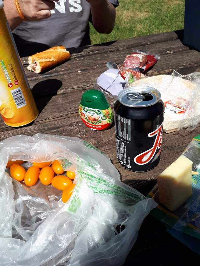picnic table laid with part of a baguette, yellow plum tomatoes, coke, pringles, squash, dried sausage and comte cheese