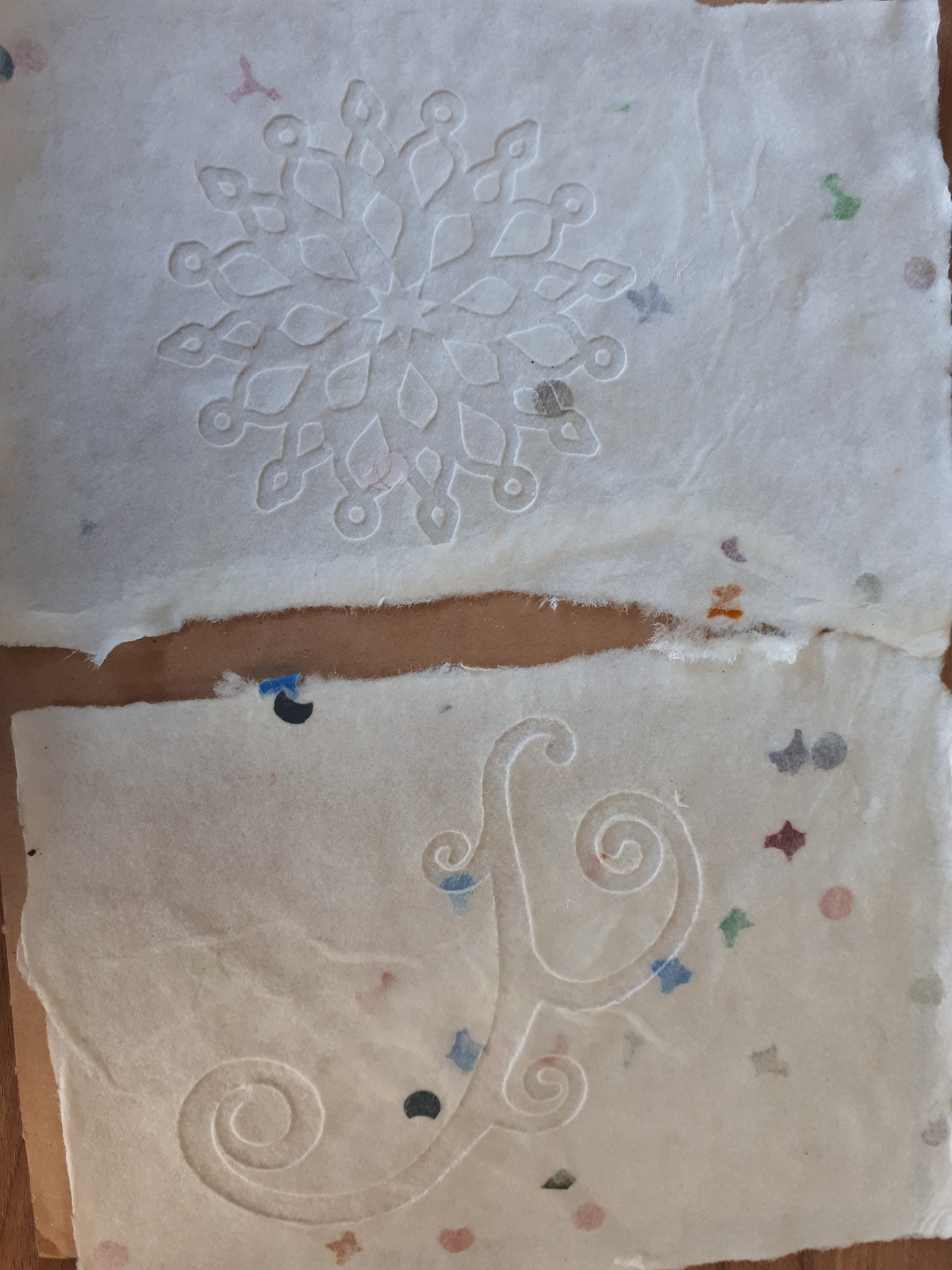hand made paper, by the boys
