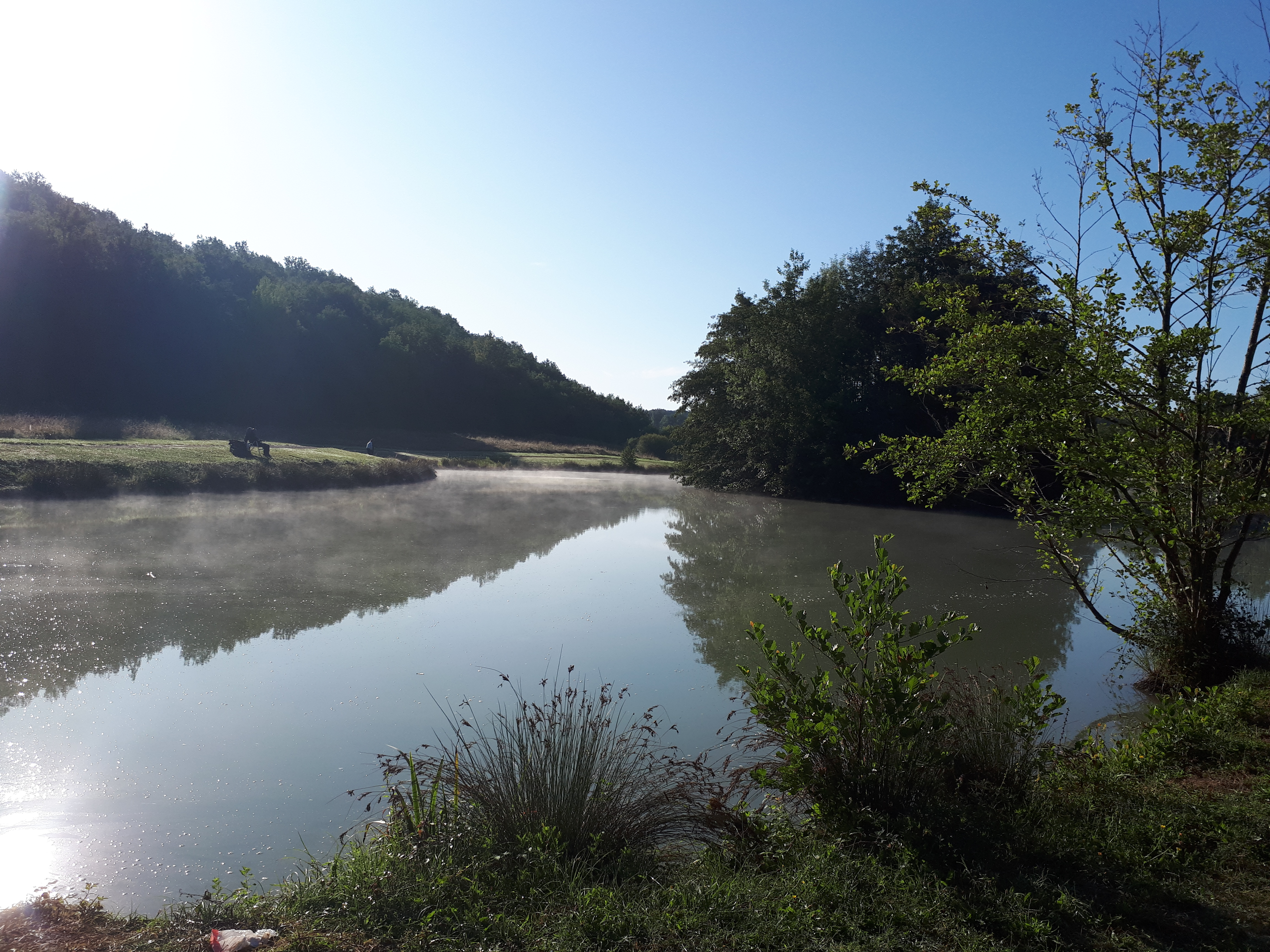 mist over the little lake at Pomport Beach campsite