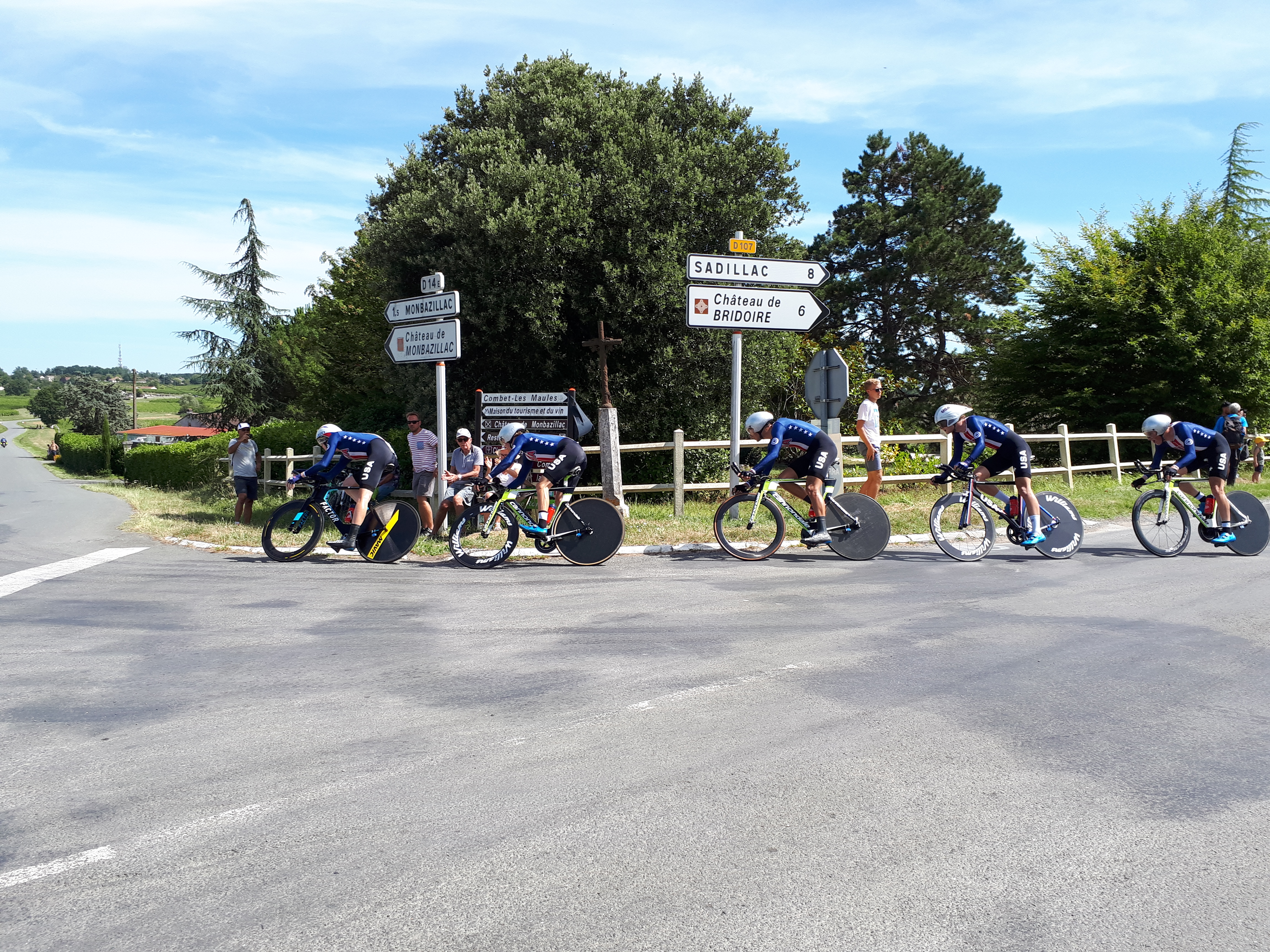 Team USA in a local team time trial of a cycle race