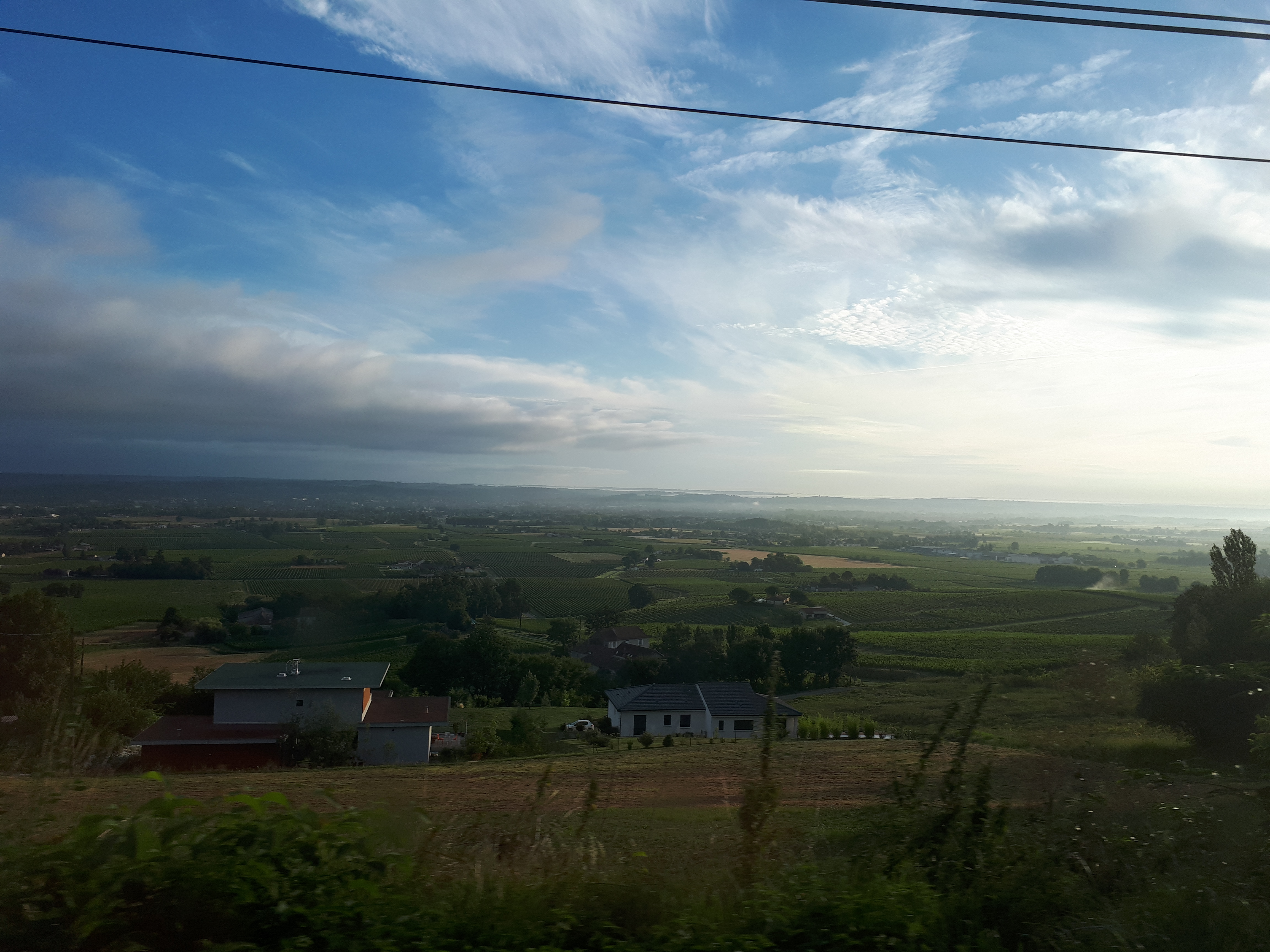 view across the Bergerac plains in the early morning