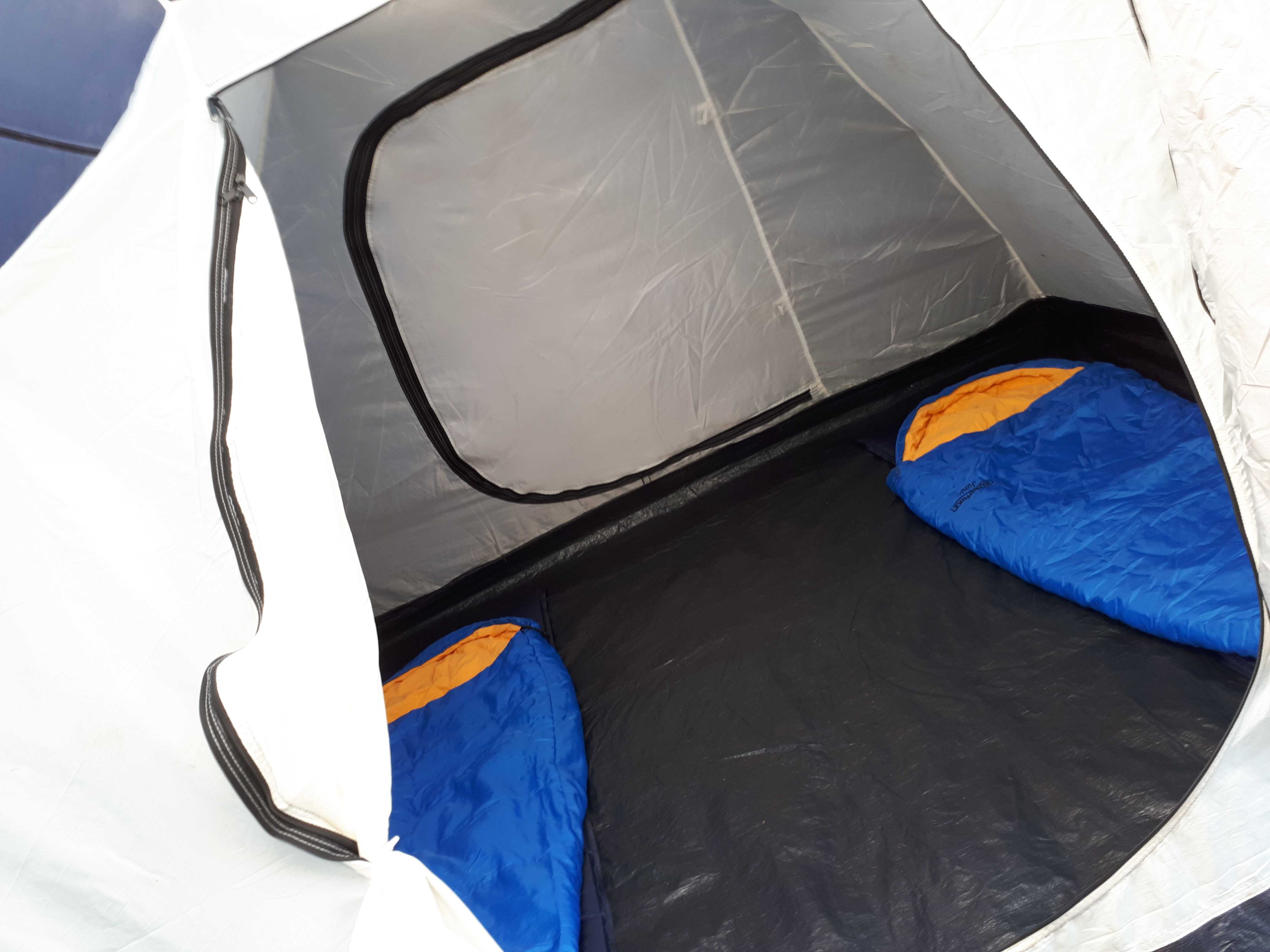 sleeping bags in the tent