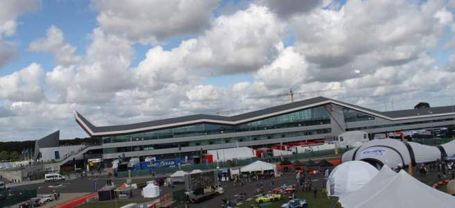 Silverstone grandstand from the top of ferris wheel