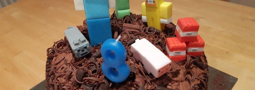 8th birthday cake, minecraft