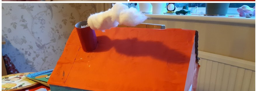 little pigs house with cotton wool smoke