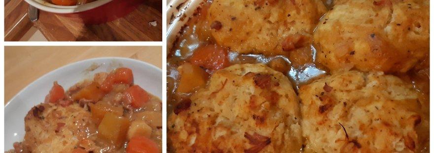 home made chicken casserole with dumplings