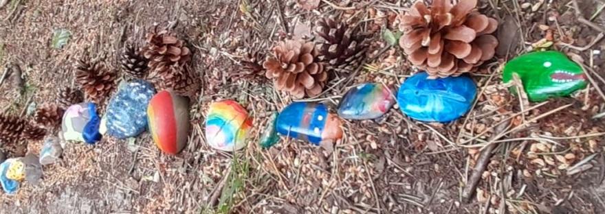 painted rocks in a rock snake in the woods, with pine cones