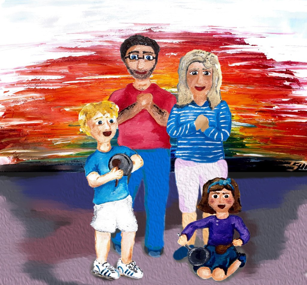 Painting of a family clapping for carers