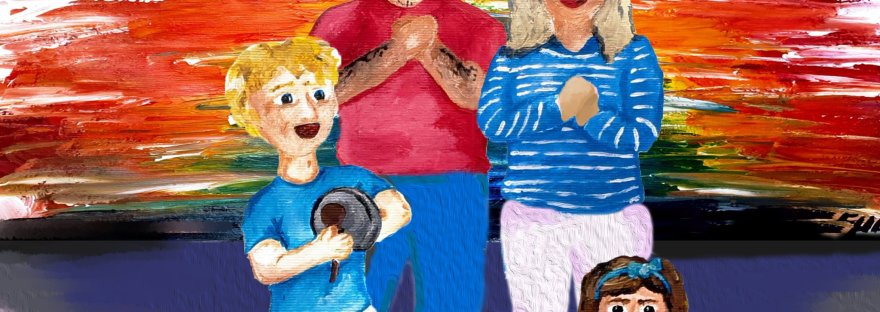 Oh What a Noise! Artwork showing a family of four clapping and bashing saucepans for NHS appreciation