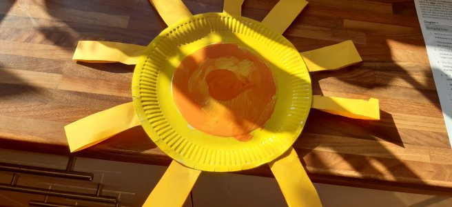 Bright yellow paper plat sunshine
