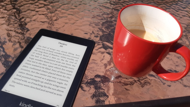 My kindle and cup of tea outside getting some peace