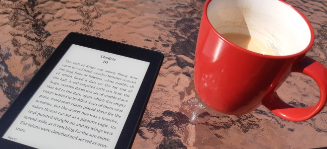 Kindle and mug of tea sitting in the sun