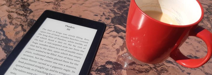 Kindle and mug of tea sitting in the sun