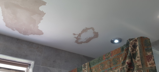 bathroom ceiling with flakey paint removed