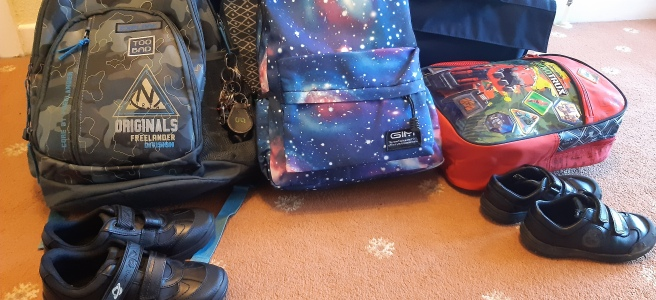 all the bags and shoes ready for back to school