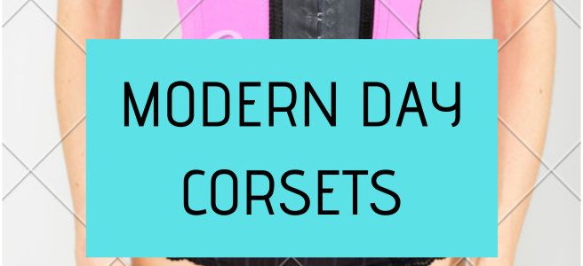 "Caption ""Modern day corsets"" with the backdrop of a pink pinched in corset"
