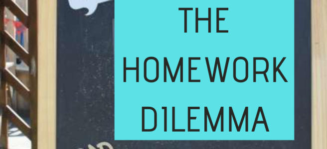 "Blackboard with a poster saying ""the homework dilemma"""