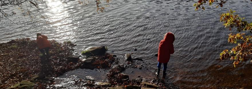 Lake, shoreline, rocks, boys, sunshine reflection